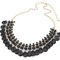 US-Lady Women's Teardrop Bib Statement Chain Bohemia Drop Necklace