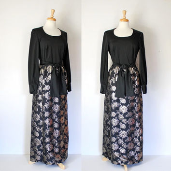 Vintage 60s Black Polyester and Gold Brocade Hostess Dress