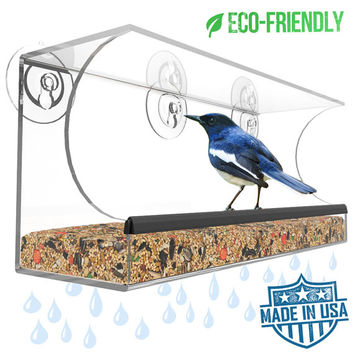 Handmade Window Bird Feeder - Crystal Clear Acrylic - Comfort Perch - Made in the USA