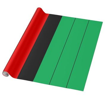 Kwanzaa Colors Red Black Green Stripes Pattern Wrapping Paper