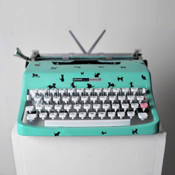 Olivetti Lettera 32 Typewriter Mint Green Custom Painted with Cat Illustrations Custom listing