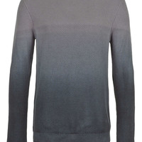 Grey Dip Dye Textured Sweater - Men's Cardigans & Sweaters - Clothing - TOPMAN USA