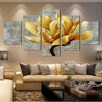 5 Pieces/set Canvas Printed Painting Gold Orchid Flower Painting Wall Art Decorative Modular Picture for Living Room Unframed