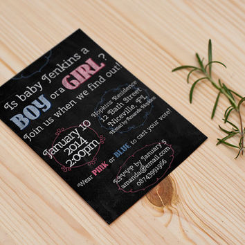 Chalkboard style Gender Reveal Party Invitation customizable printable