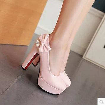 Customized large size single shoes 44 45 46 47 yards large size high heels with high-heeled shoes with butterfly knot diamond