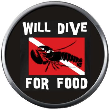 Lobster Will Dive For Food Scuba Diver Dive Flag Fins Red White Diver Down Flag 18MM - 20MM Snap Charm New Item