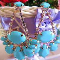 blue Candy Color Bubble Dangle Earrings, Handmade Bib Earrings,Fashion Earrings