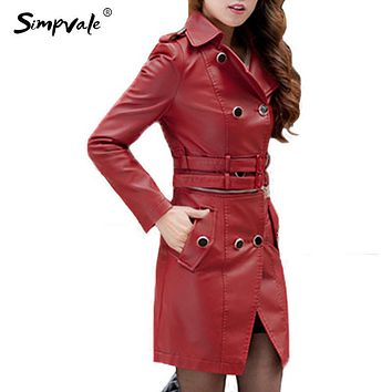 SIMPVALE Faux Leather Jacket Women Fashion Turn Down Neck Double Breasted Solid Color Black Red Brown Long Sleeve PU Sexy Coat