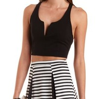 Plunging Cross-Back Crop Top by Charlotte Russe