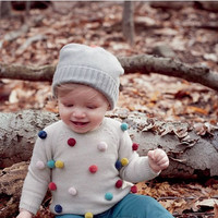 Autumn Kids Sweater Colored Balls Baby Knitted Cardigans Fashion Toddler Boys Sweater Cotton+ Woolen Baby Girls Sweater