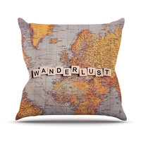 "Sylvia Cook ""Wanderlust Map"" World Throw Pillow"