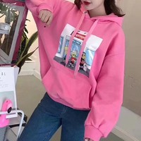 """Supreme"" Women Casual Fashion Cartoon Simpson Pattern Print Loose Long Sleeve Hooded Sweater Sweatshirt Tops"