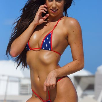 Mini Stars Sexy Mini Micro G-String Thong Bikini 2pc Red White Blue Patriotic