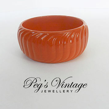 Vintage Orange Bangle Bracelet, Wide Lucite Bracelet, Chunky Molded 1960's Bracelet