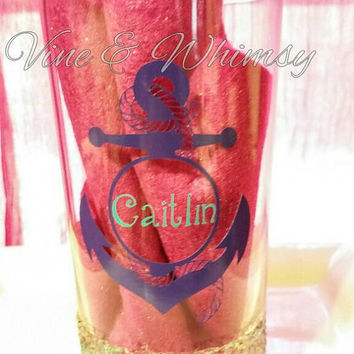 Anchor decal with name, glitter glass tumbler personalized purple aqua anchor with rope design vinyl name decal, glitter dipped monogram cup
