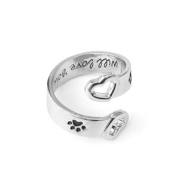 I will love you forever Dog Paw Ring for Women Dog Lovers Hollow Love Heart shaped Opening Rings Pet Animal Claw Jewelry Gifts