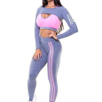 Letter Yoga Crop Top with Skinny Pants Two Pieces Set
