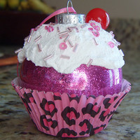 Pink Leopard Christmas Cupcake Ornament