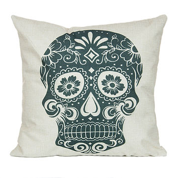 "18"" x 18"" Cotton Linen Square Throw Pillow Case Cushion Cover Skull Pattern  P1003"