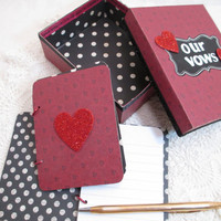 Wedding Vow Book Set - Valentine Wedding- Red- Black - Hearts with Matching Keepsake Box