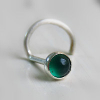 small nose stud, emerald nose stud, gemstone nose stud