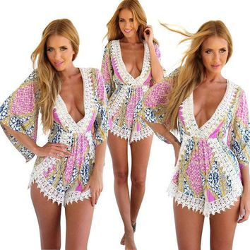 CREYOND Multi Color Bohemian Printed Lace Romper