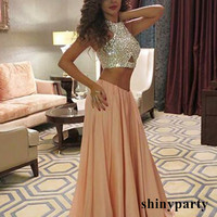 Champagne A-line 2 Pieces Long Prom Dress, Evening Dress