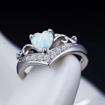 Elegant Heart Cut Rainbow Opal Ring Fashion White CZ Wedding Jewelry  Engagement Promise Rings