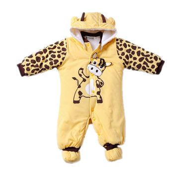 Winter Baby Rompers Boy Girl Hat Jumpsuit Shoes Sets Down Coat Baby Clothes Layette Kids Suit Newborn Overalls Clothing Parkas