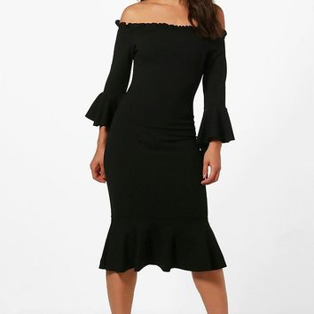 Katie Flute Sleeve and Hem Off Shoulder Midi | Boohoo
