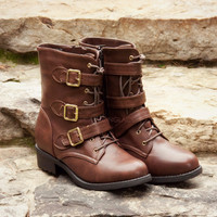 SZ 5.5 Knew You Were Trouble Brown Buckle Boots