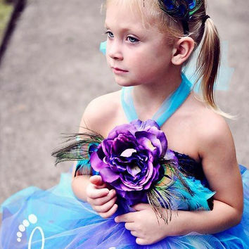 Peacock Tutu Dress, Flower Girl Dress, Outfit of Choice, Blue Tutu Dress, Purple Tutu Dress, Peacock Feathers