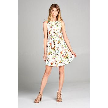 Simple Tank Style Dress - Ivory Floral