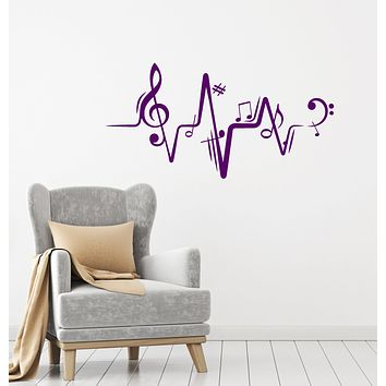 Vinyl Wall Decal Melody Notes Sheet Music School Decor Stickers (4053ig)