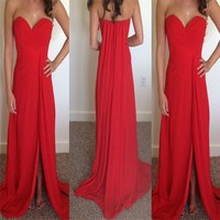 Real Sample 2016 Red Vestido de festa longo Elegant Sweetheart Off shoulder Chiffon long evening dresses for women
