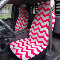 1 Set of Grey/Red Chevron Print 1 Seat Covers and 1 pic of Steering Wheel Cover Custom Made