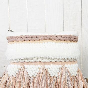 Mellow Moment White Blush Pink Tassel Braided Clutch Bag (Pre-order)