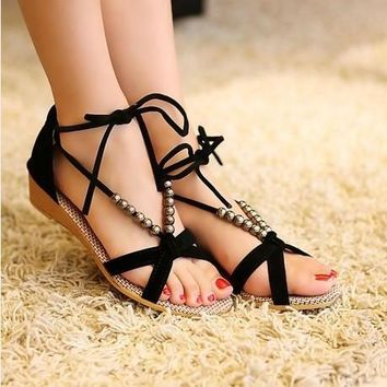 Women Sandals Low Heel Wedges Summer Slippers
