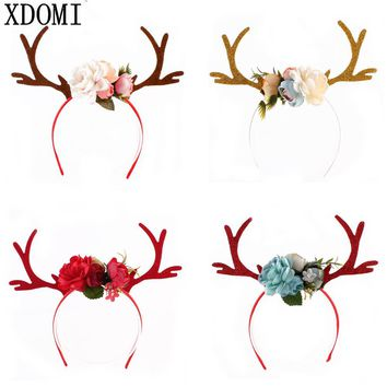 2017 New DIY Christmas Headband Antlers Ear Hair Hoop with Flowers Christmas Party Hair Accessories Deer Hair Buckle Decoration