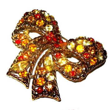 "Weiss Ribbon Brooch Pin Signed Orange Yellow Topaz Rhinestones Gold Metal 2.5"" Vintage"