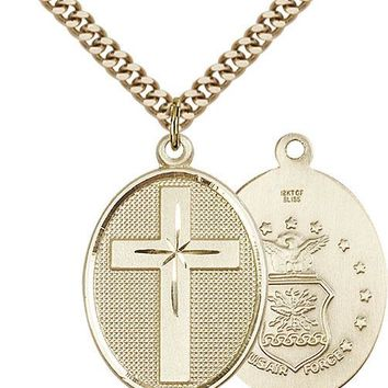 Men's 14K Gold Filled Cross Air Force Military Soldier Catholic Medal Necklace 617759969337