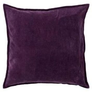 "Eggplant Velvet Solid Throw Pillow 18""x18"" - Surya®"