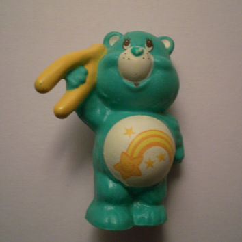 Vintage 1983 Care Bears Wish Bear with Wishbone Mini Figure