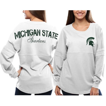 Michigan State Spartans Women's Pom Pom Jersey Oversized Long Sleeve T-Shirt - White