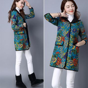 Women's Winter Coat Floral Printing Vintage Style Padded Coat Hooded Cotton Linen Quilted Long Coat