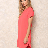 Coral Woven Boxy Shift Dress