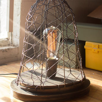 Woven Wire Cage Desk Lamp Old Brass