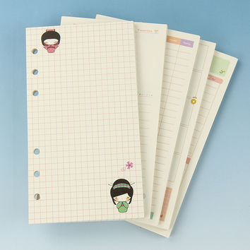 1 Pcs Cute A6 Notebook 6 Holes Colorful Diary Refills Spiral Notebook Replace Loose Leaf Stationery Planner