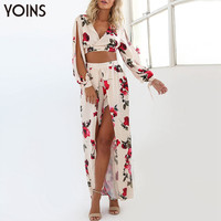 YOINS 2016 New Women Fashion Floral Suits Long Sleeves Deep V-neck Crop Top High Waist Splited Front Long Skirt 2 Piece Sets