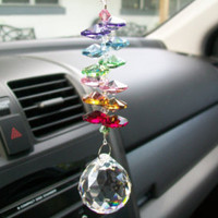 Crystal Suncatcher Mirror Charm, Car Accessories For Window, Crystal Car Charm, You Pick Color, Green, Yellow, Hot Pink, Purple, Aqua
